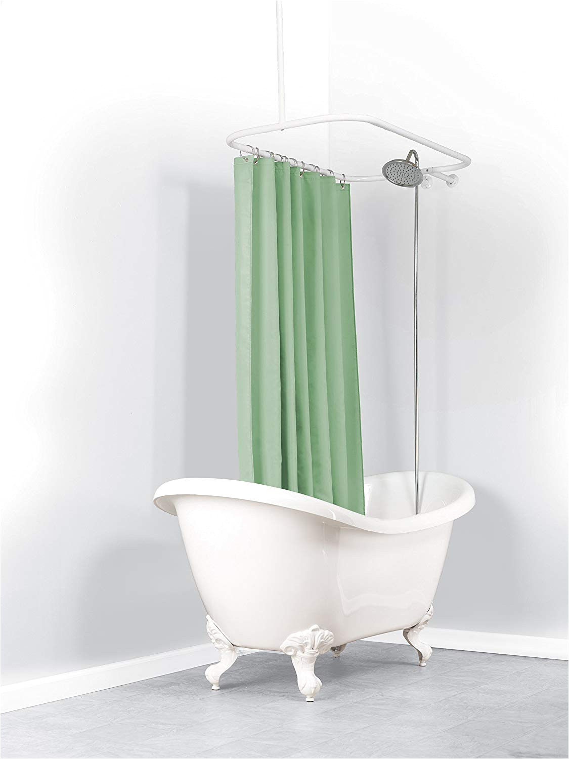 zpc zenith products corporation zenna home 34941ww neverrust aluminum hoop shower curtain rod for claw foot tubs white amazon co uk kitchen home