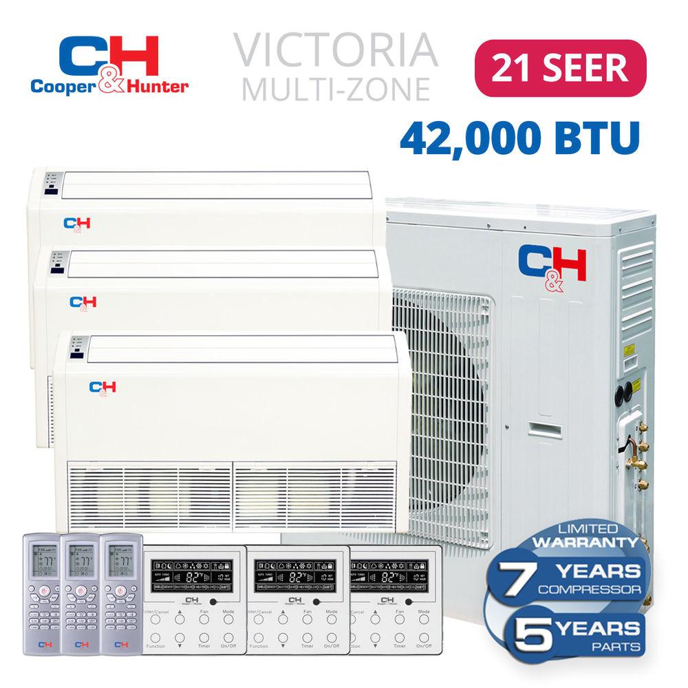 42000 btu 21 seer 18 18 18 tri 3 zone floor ceiling mini split air conditioner ebay