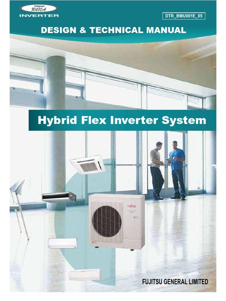 fujitsu hybrid flex inverter hfi mini split systems design manual heat pump air conditioning