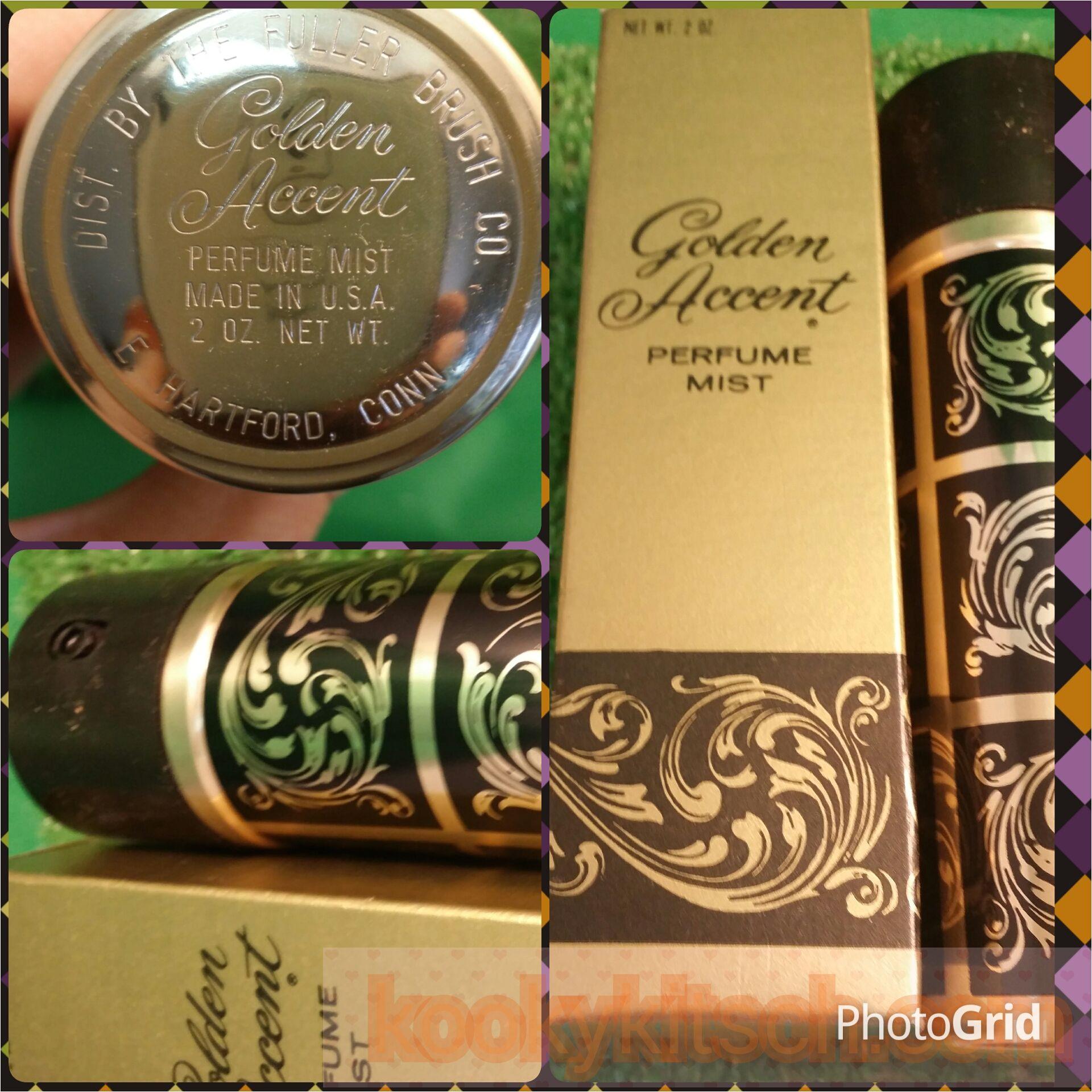 vintage fuller brush golden accent perfume mist bottle and box 2 oz
