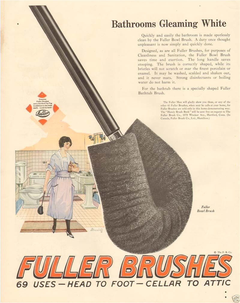 1920s antique fuller toilet bowl brush bathroom fixture house cleaning maid ad ebay