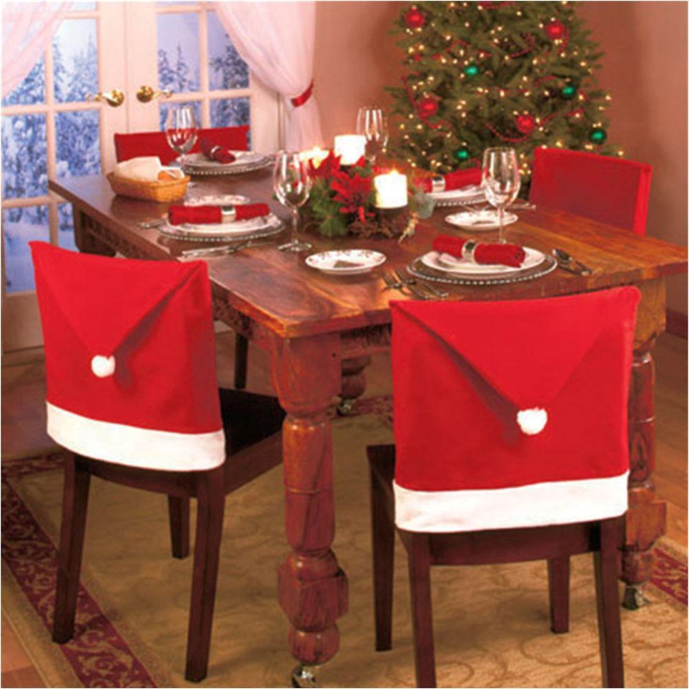 compre cubiertas de la silla de navidad papa noel red hat para la decoracia n de la cena decoraciones para el hogar adornos suministros al por mayor 6 unids