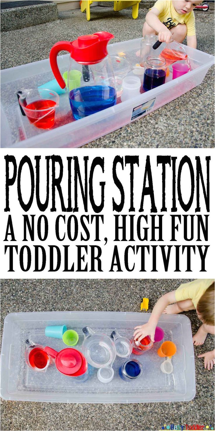 pouring station a no cost high fun toddler activity