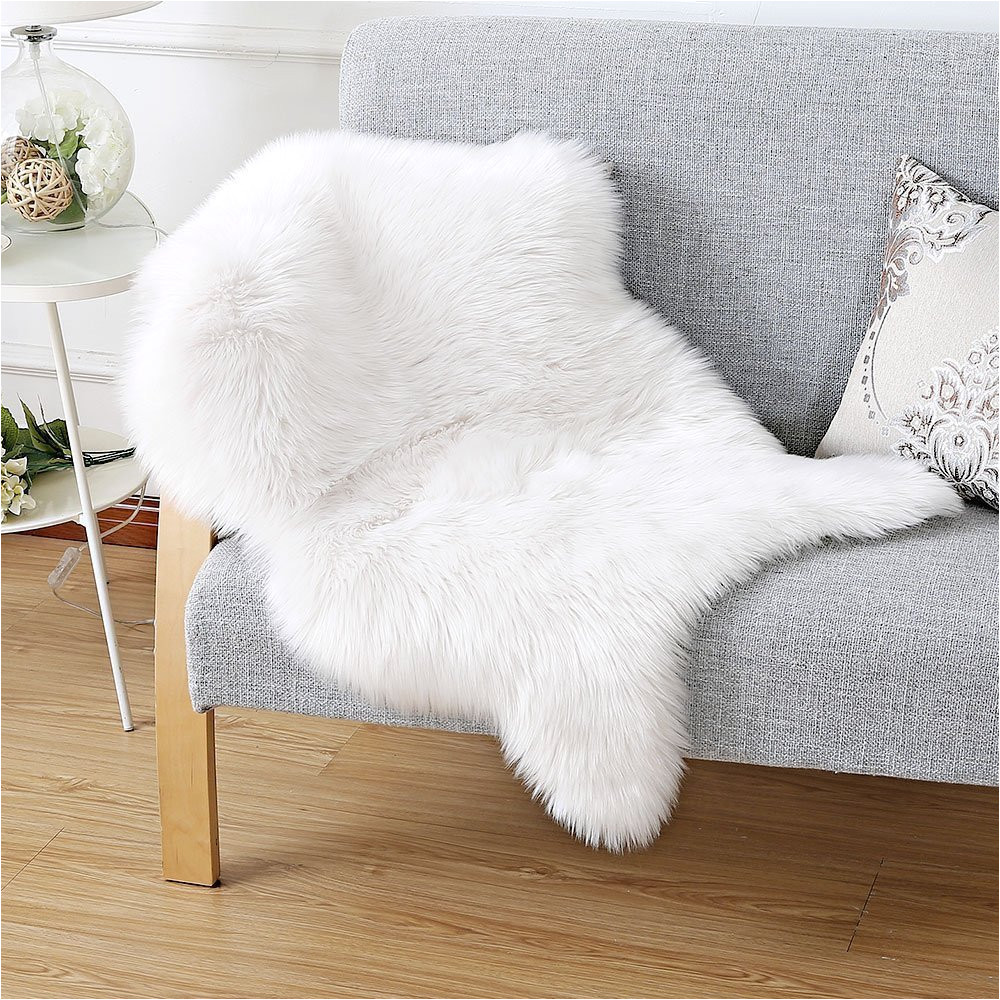 fashion suit luxury premium faux fur sheepskin fluffy shaggy decorative rug couch chair cover seat pad