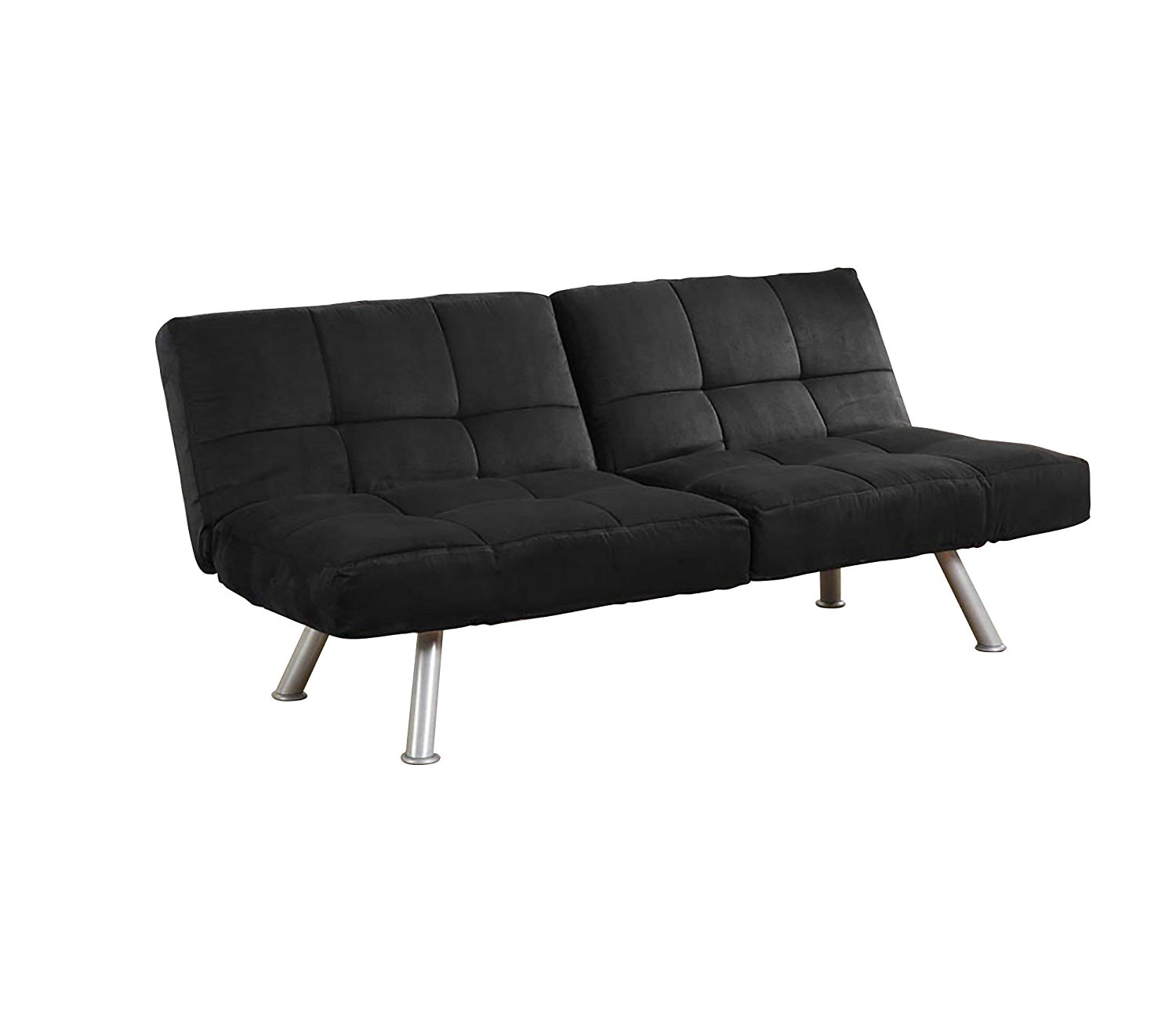 amazon com dhp kaila sofa sleeper convertible futon couch bed in premium black microsuede with adjustable armrests slanted metal legs and splitback