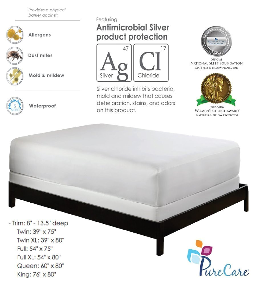 amazon com purecare premium 5 sided mattress protector waterproof allergy mattress cover dust mite cover clinically proven antibacterial machine washable