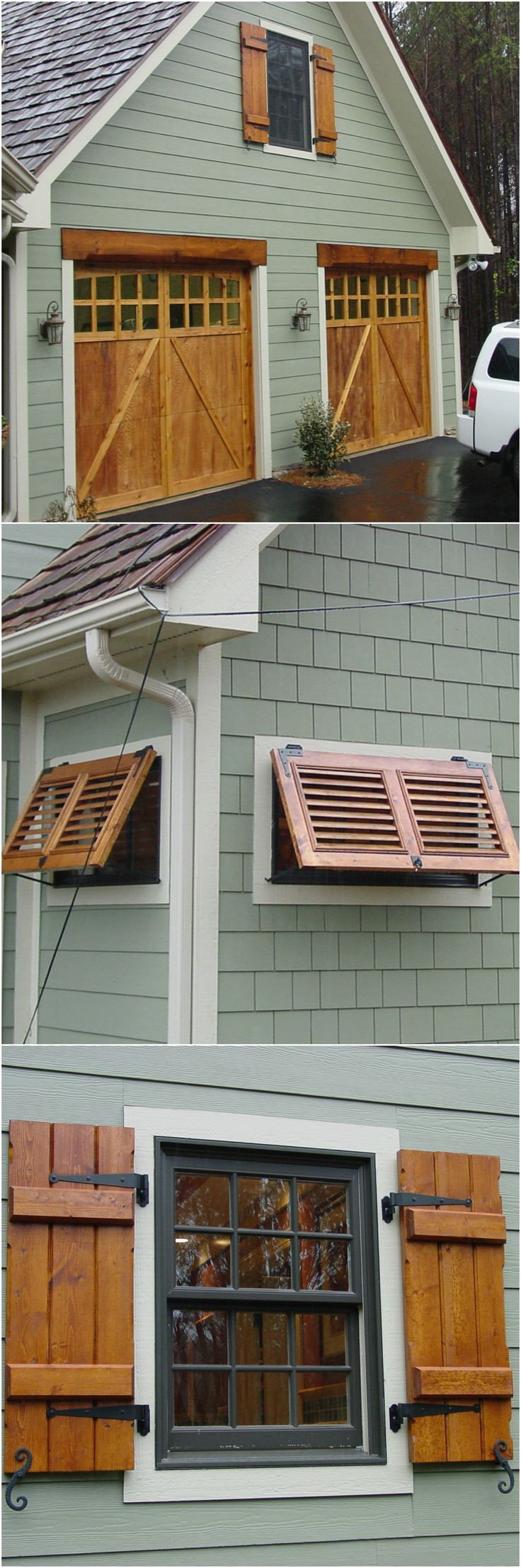 custom stained cedar shutters matching garage door stain and adorable little bahama shutters