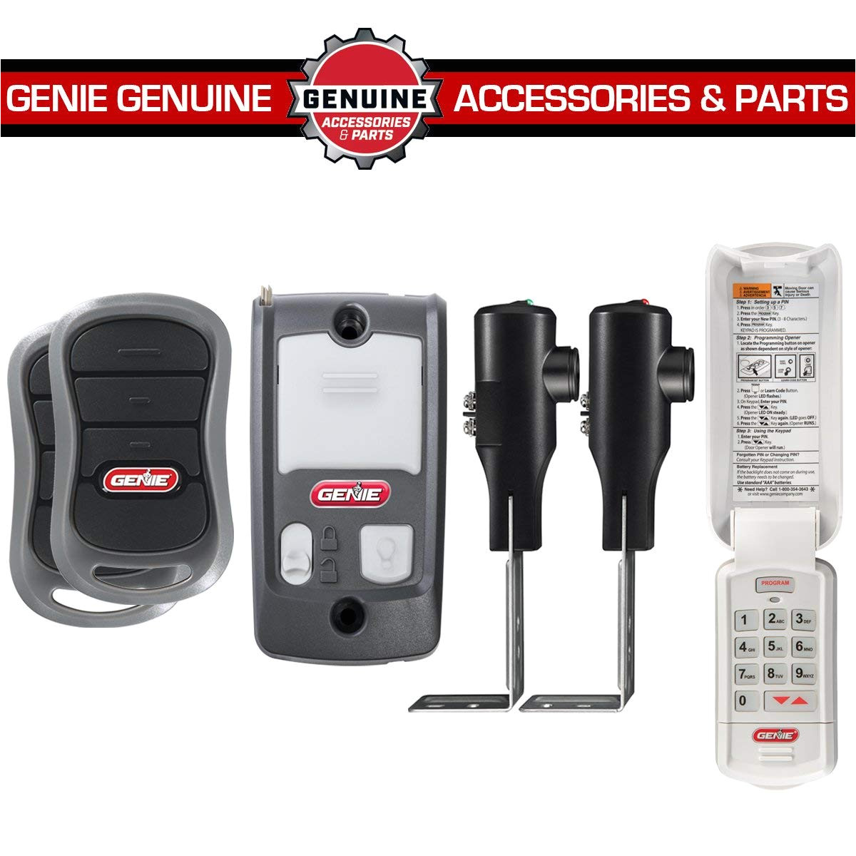 genie chainmax 1000 garage door opener 3 4 hpc dc chain drive opener with two 3 button pre programmed remotes wall console wireless keypad and