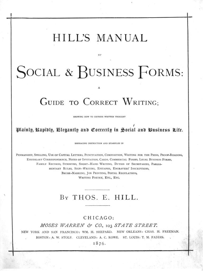 hills manual of social and business forms 1875 mail united states postal service