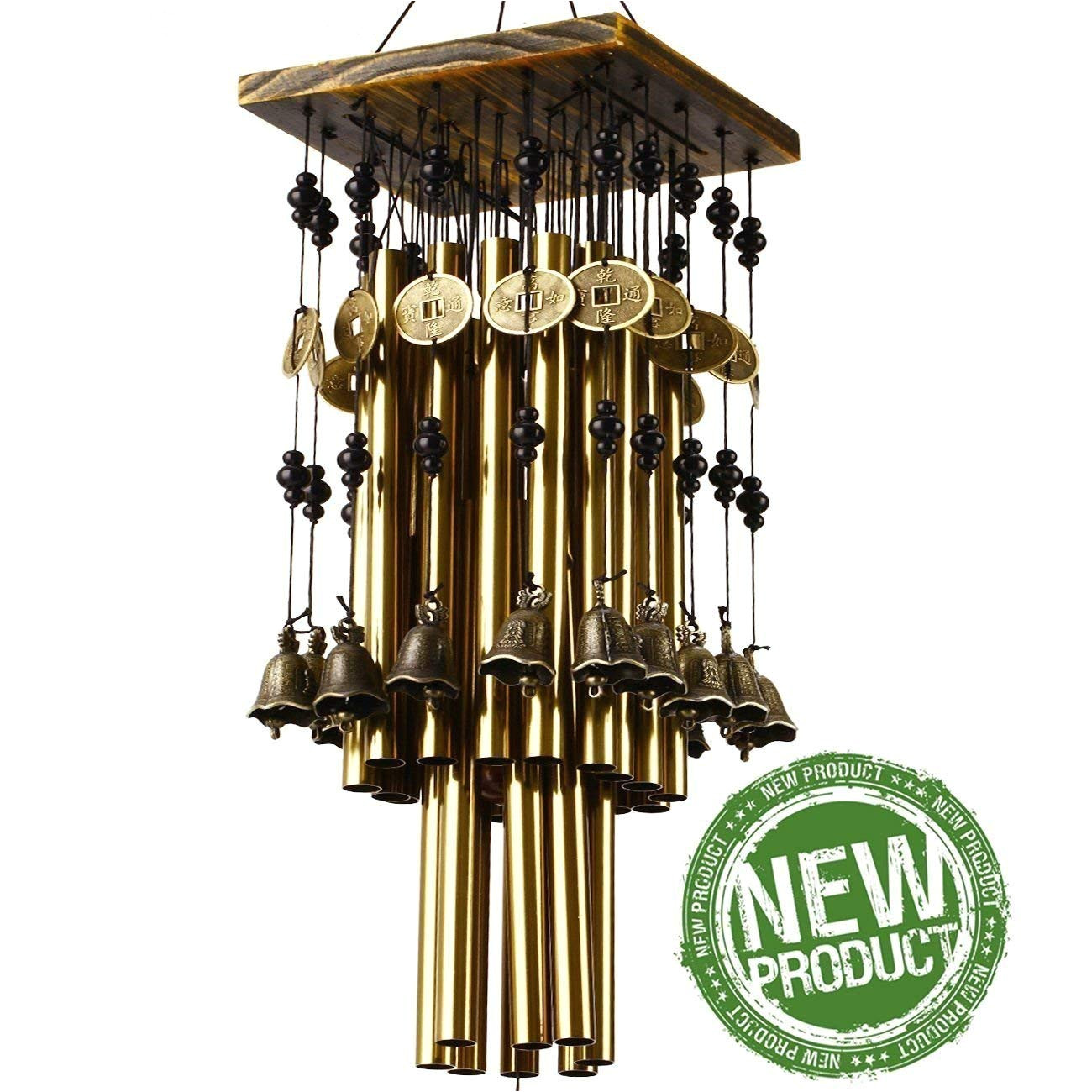 ylyycc brassiness wind chime 24 tube metal windbell money drawing wind chime amazon in garden outdoors