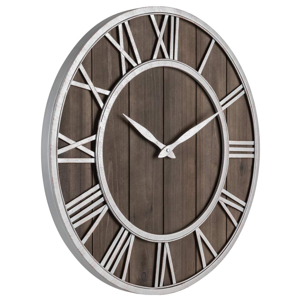 amazon com oldtown farmhouse metal solid wood noiseless wall clock dark brown 36 inch home kitchen