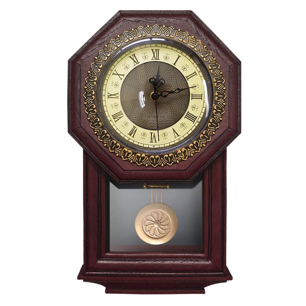 giftgarden silent wall clock with pendulum antique retro non ticking quartz movement clocks classical decor for bedroom living room kitchen