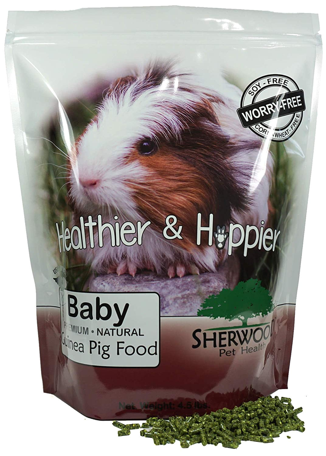amazon com sherwood baby guinea pig food no soy wheat or corn 4 5 lb vet used pet supplies
