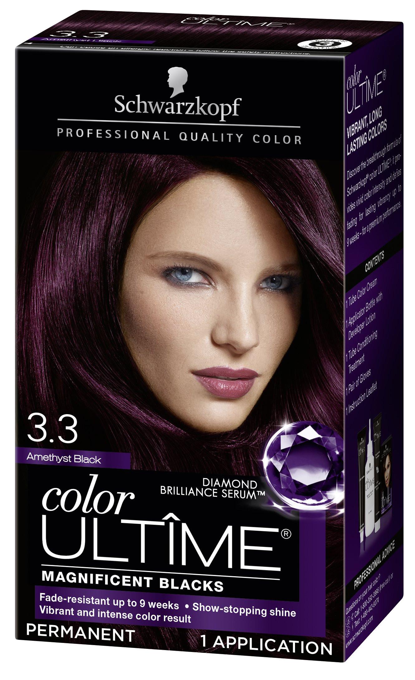 schwarzkopf color ultime hair color cream 3 3 amethyst black packaging may vary