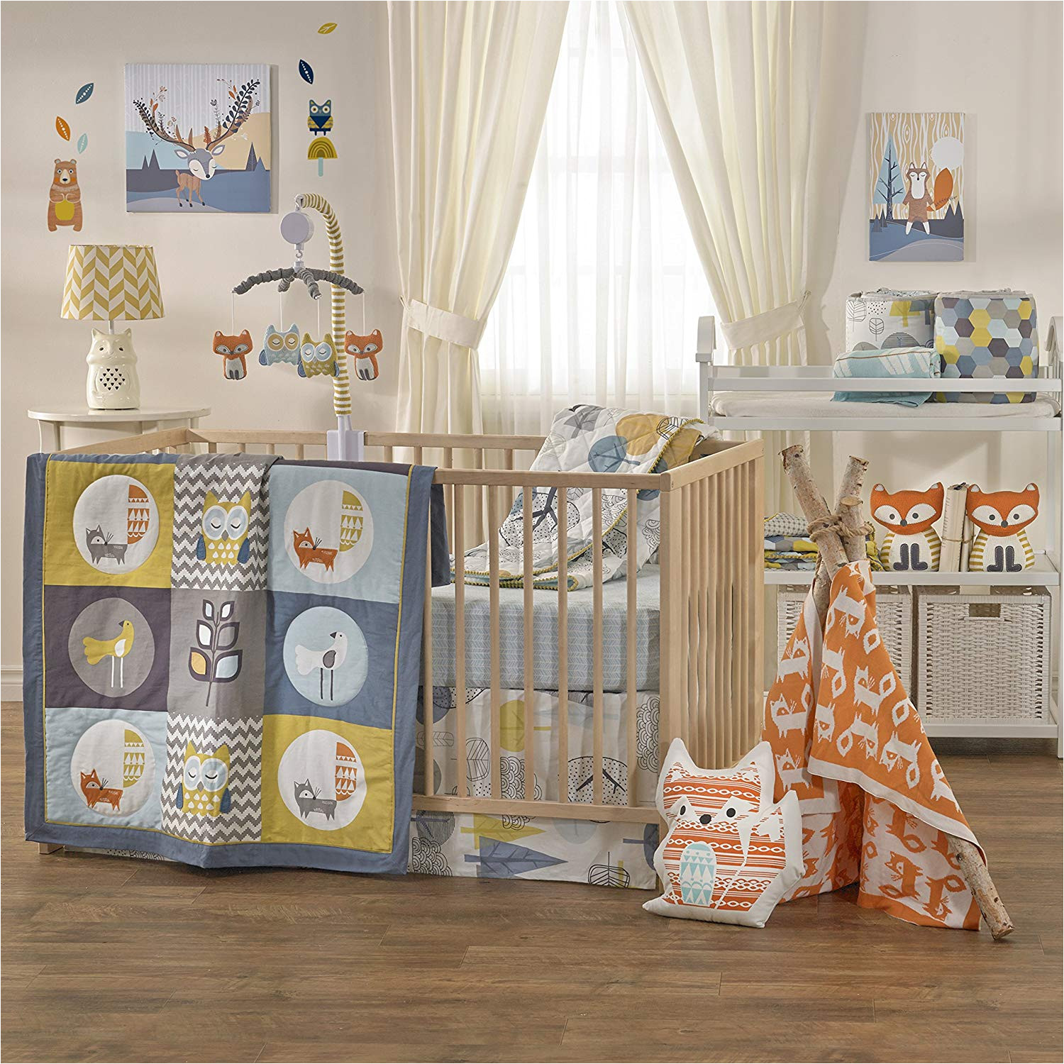crib bedding set baby living woods wildlife rustic boy girl nursery animal new
