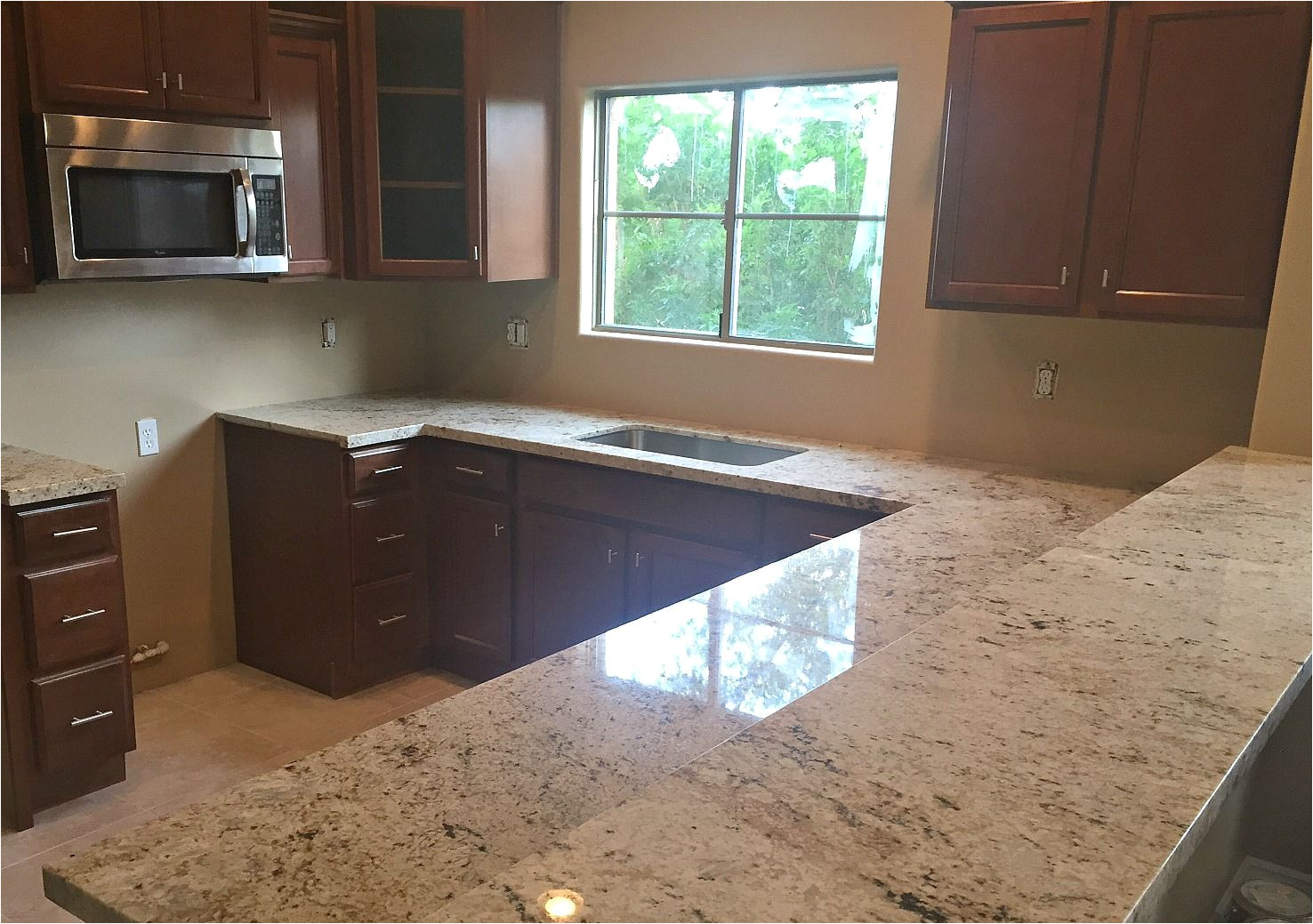 cafe creme granite countertop remodel in phoenix az with flat polish edge and stainless steel under mount sink having trouble deciding your countertop
