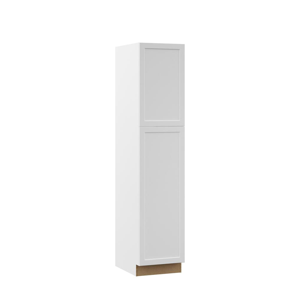 hampton bay designer series melvern assembled 18x84x23 75 in pantry kitchen cabinet in white
