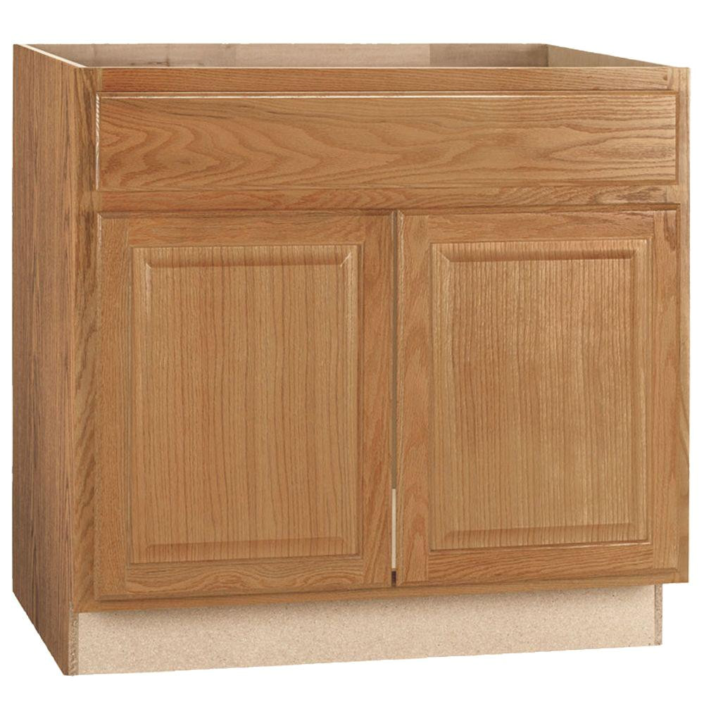 hampton bay hampton assembled 36x34 5x24 in sink base kitchen cabinet in medium oak