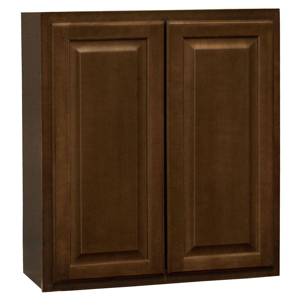 hampton assembled 27x30x12 in wall kitchen cabinet in cognac