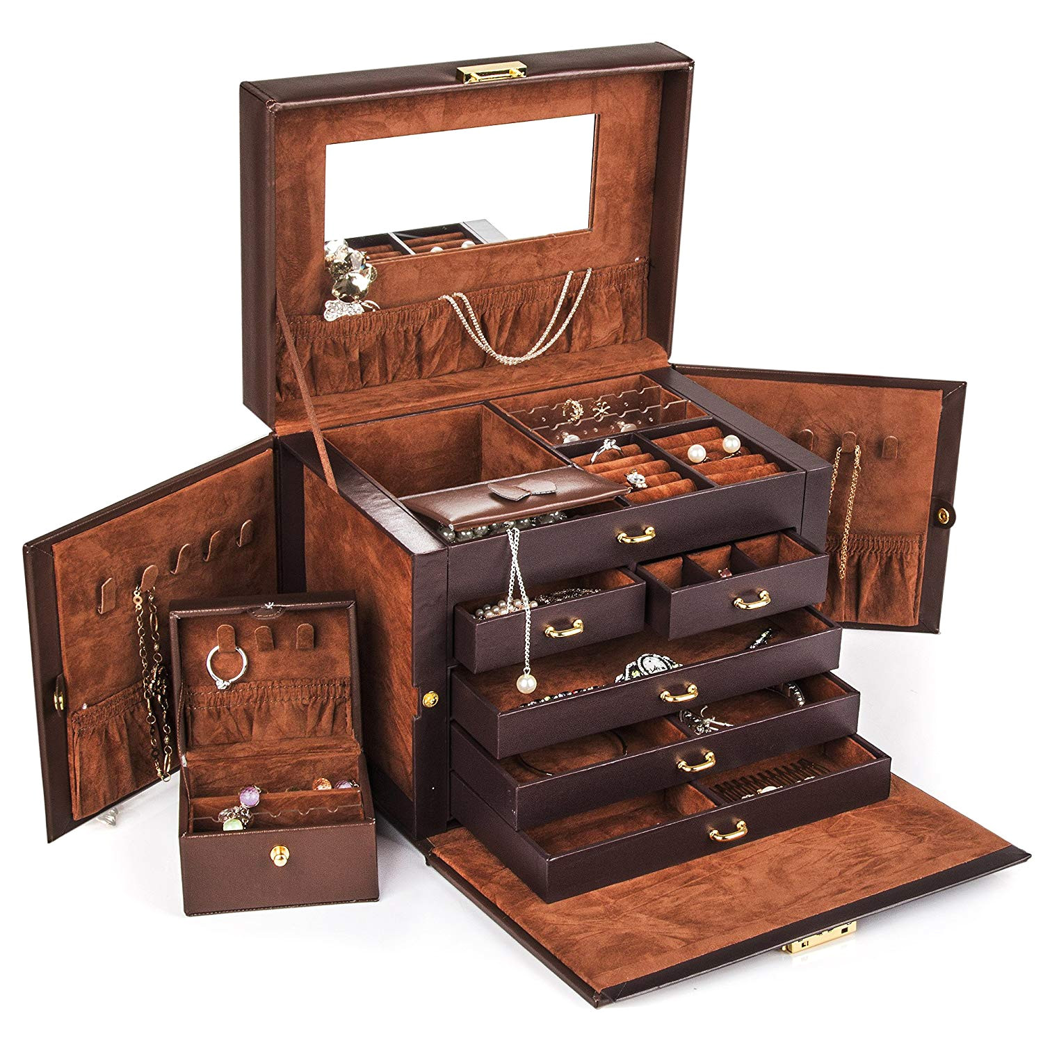 amazon com kendal brown leather jewelry box case storage organizer with travel case and lock home kitchen