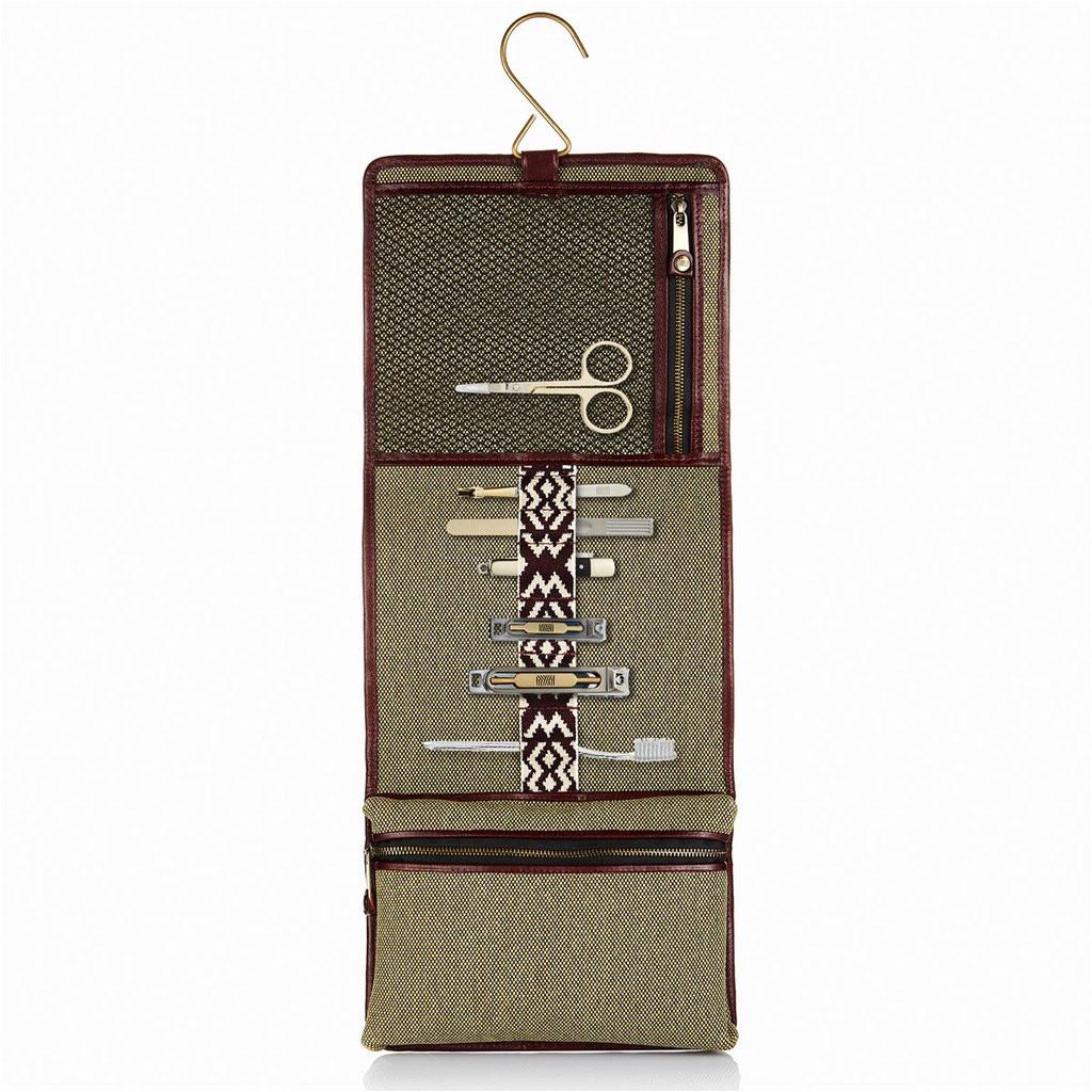 Hanging Traveler Case 31 Herringbone Wash Roll Bordeaux Red Men S toiletry Hanging Travel