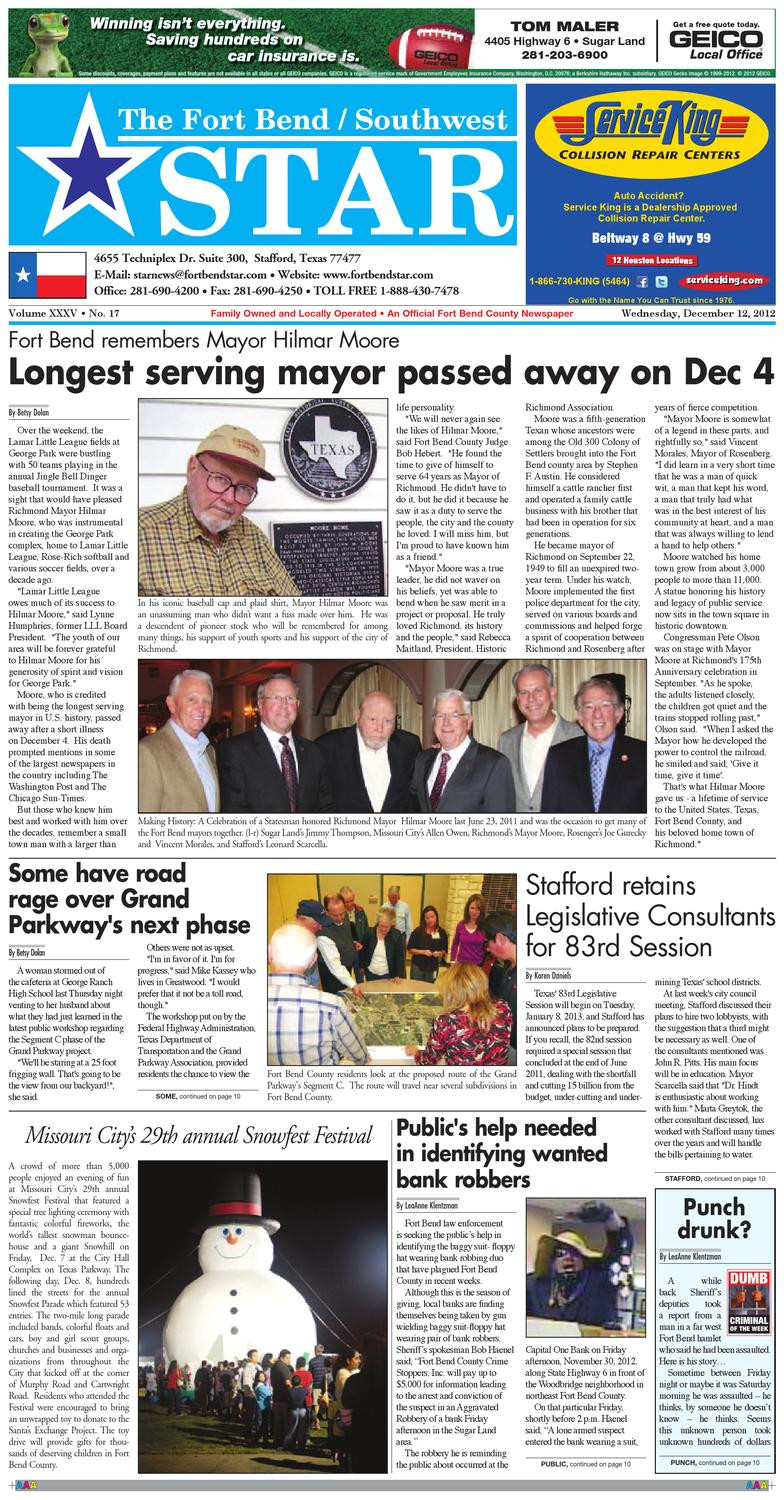 Harris Carpet Cleaning Stafford Va December 12 2012 fort Bend Community Newspaper for Sugar Land