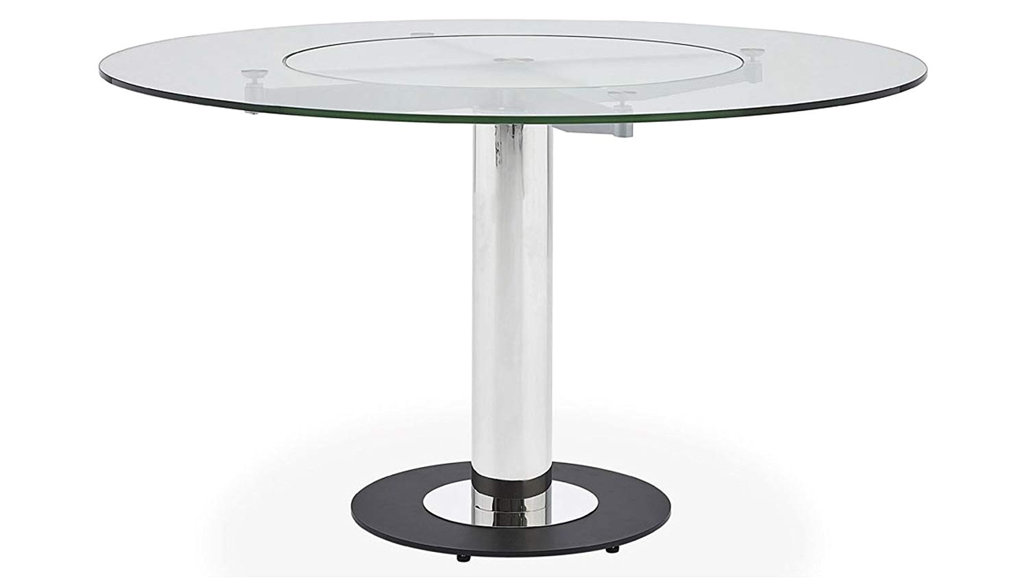 amazon com zuri furniture fiore modern round glass dining table with chrome base tables