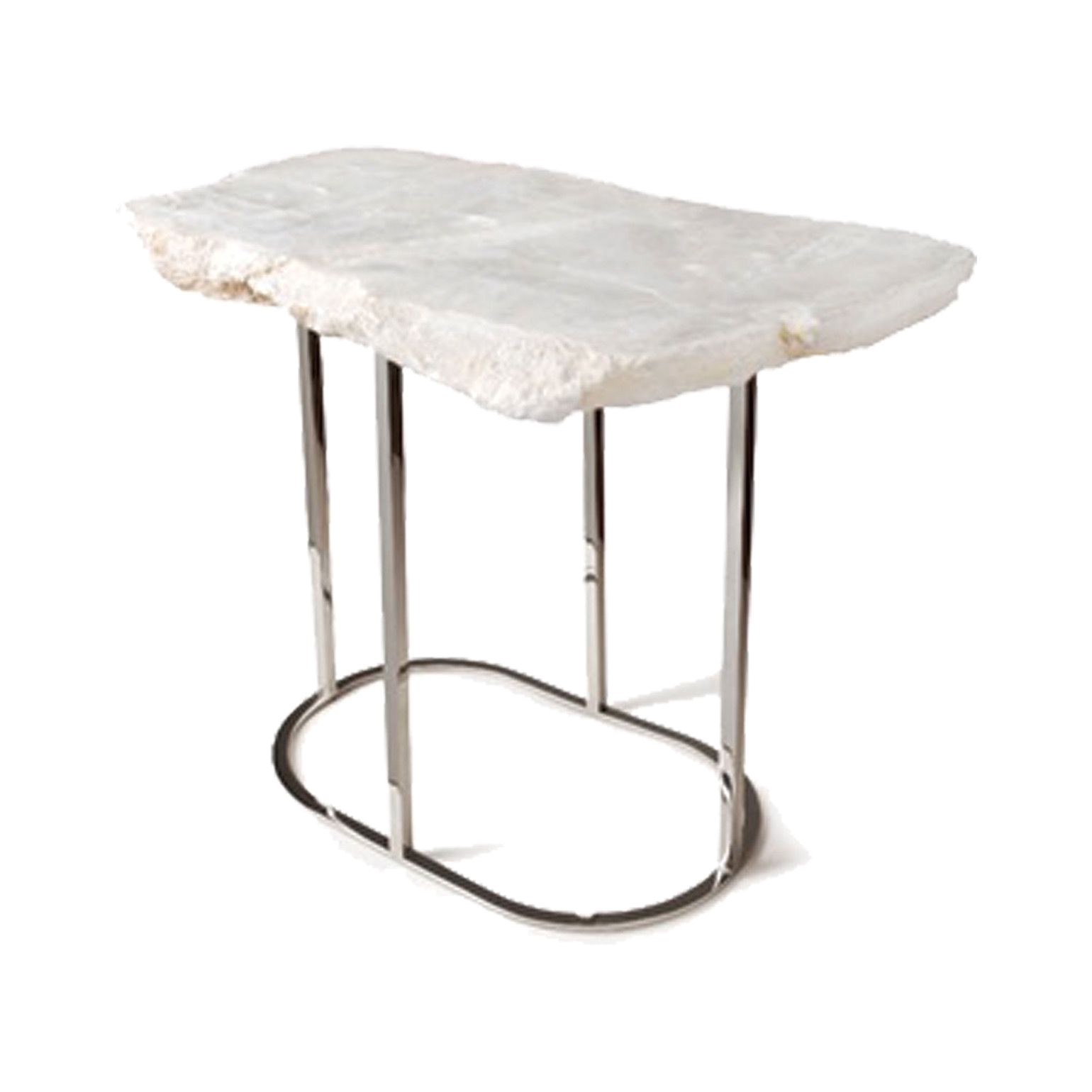 grady selenite crystal table contemporary metal stone coffee cocktail table by matthew studios inc