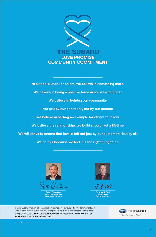 the subaru love promise community commitment