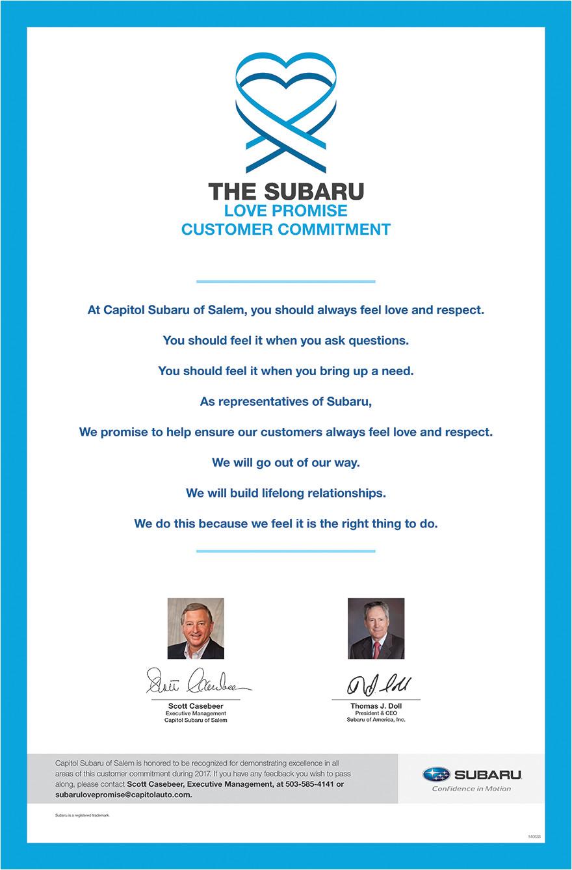 the subaru love promise customer commitment