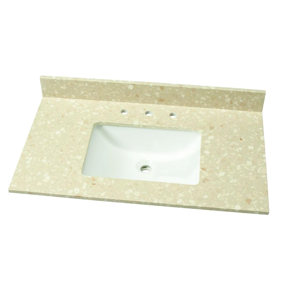 home decorators collection 37 in w engineered marble single vanity top in piatra beige with