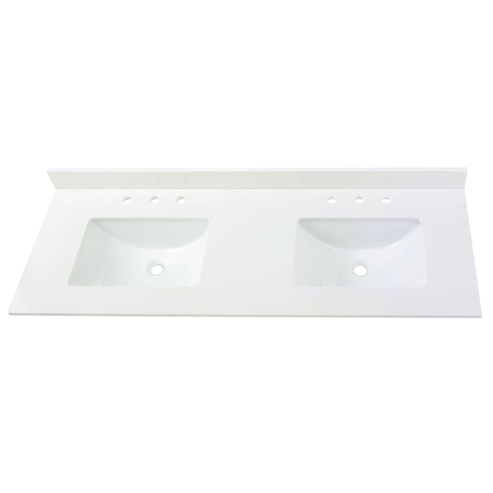home decorators collection 61 in w x 22 in d engineered marble vanity top in snowstorm with white double trough basins 63203 the home depot
