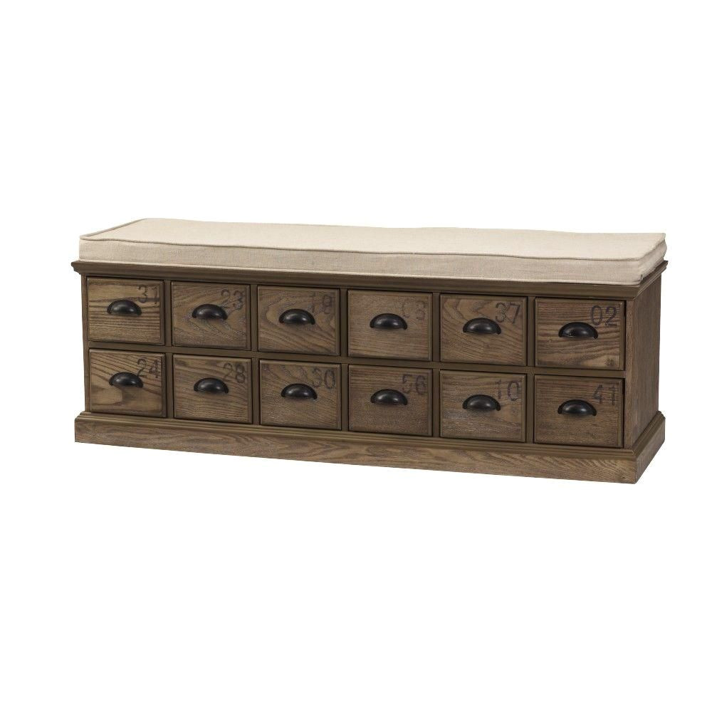 home decorators collection corollary 12 drawers driftwood shoe storage bench 1587300820 the home depot