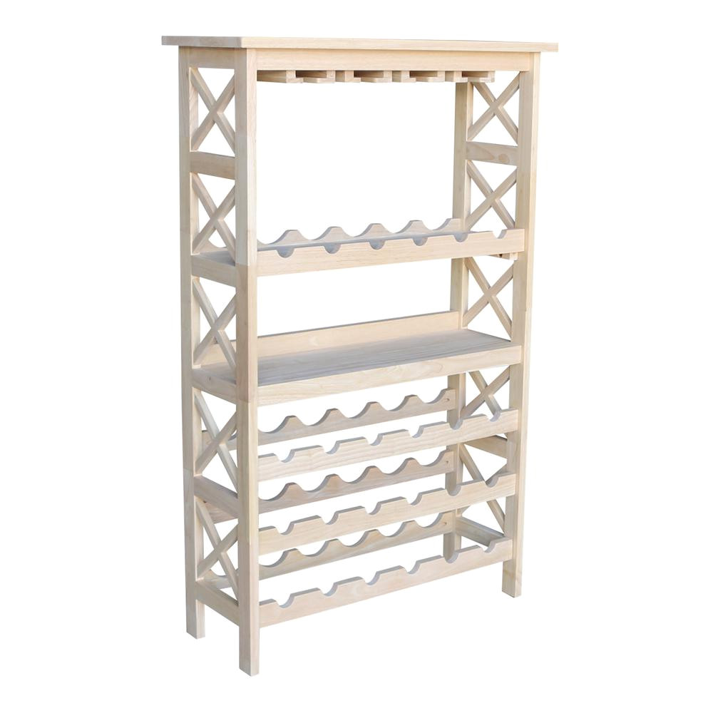 international concepts 24 bottle unfinished solid wood wine rack