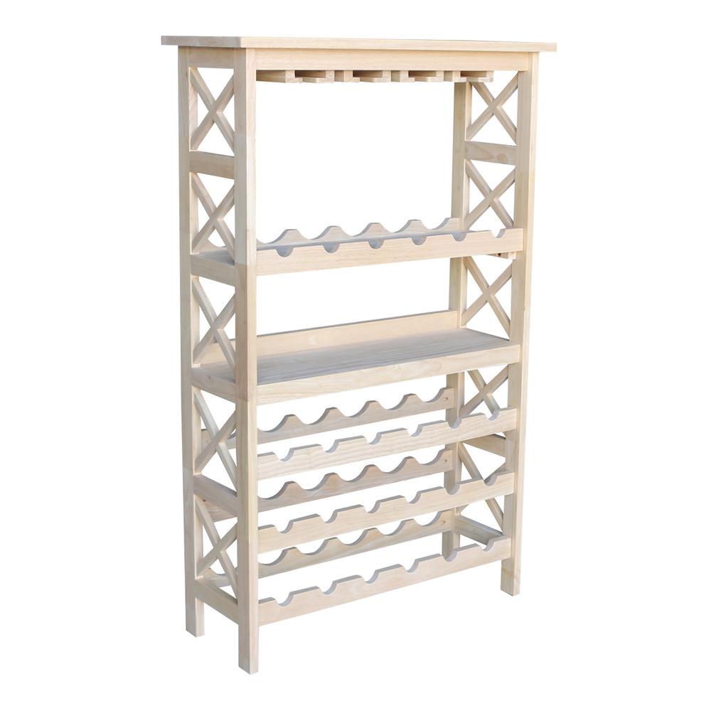 international concepts 24 bottle unfinished solid wood wine rack
