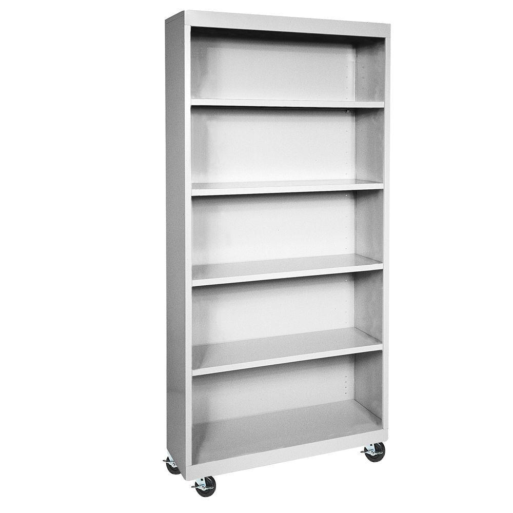 sandusky dove grey mobile steel bookcase