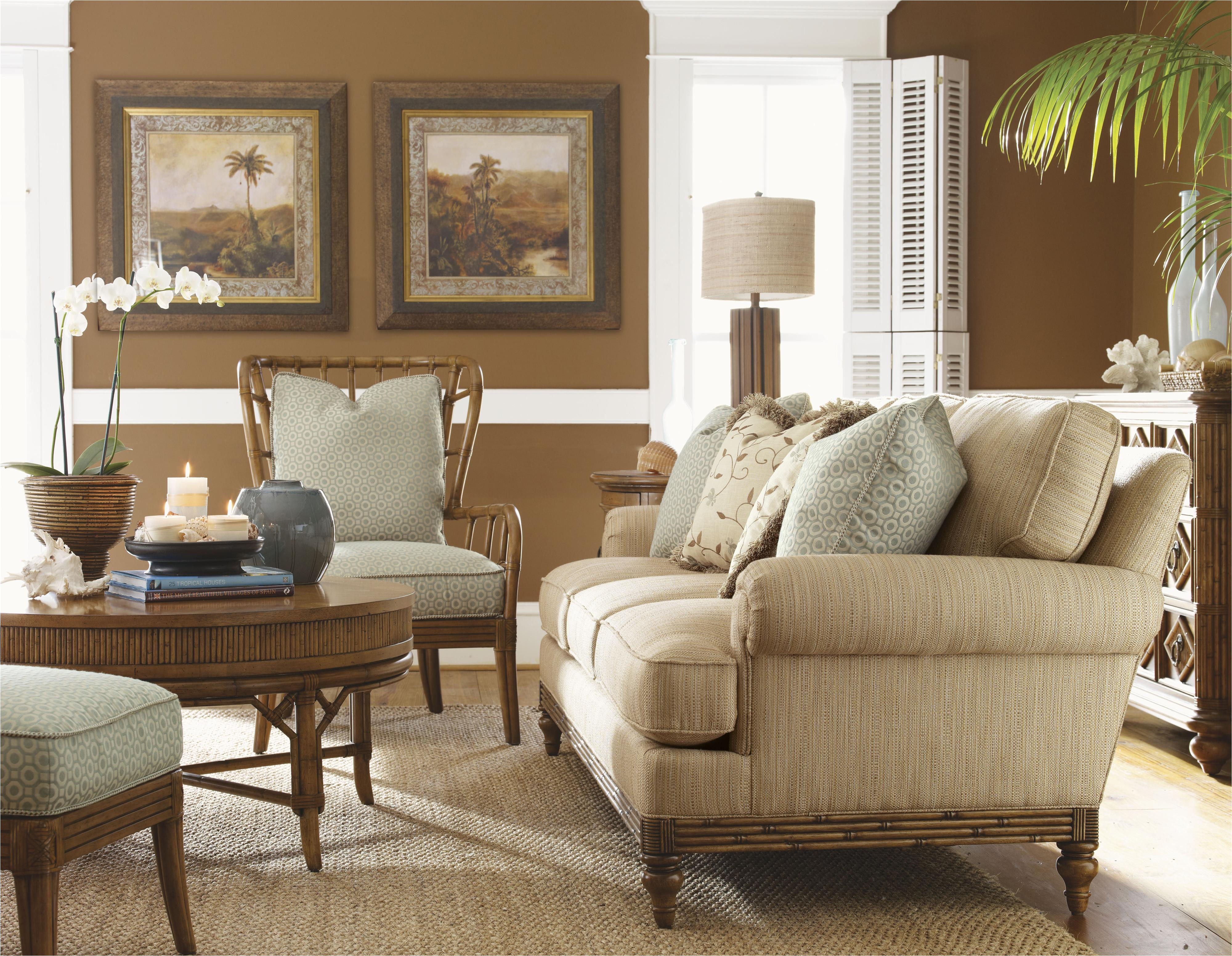 tommy bahama home beach house ocean breeze chair with exposed rattan details howell furniture exposed wood chairs