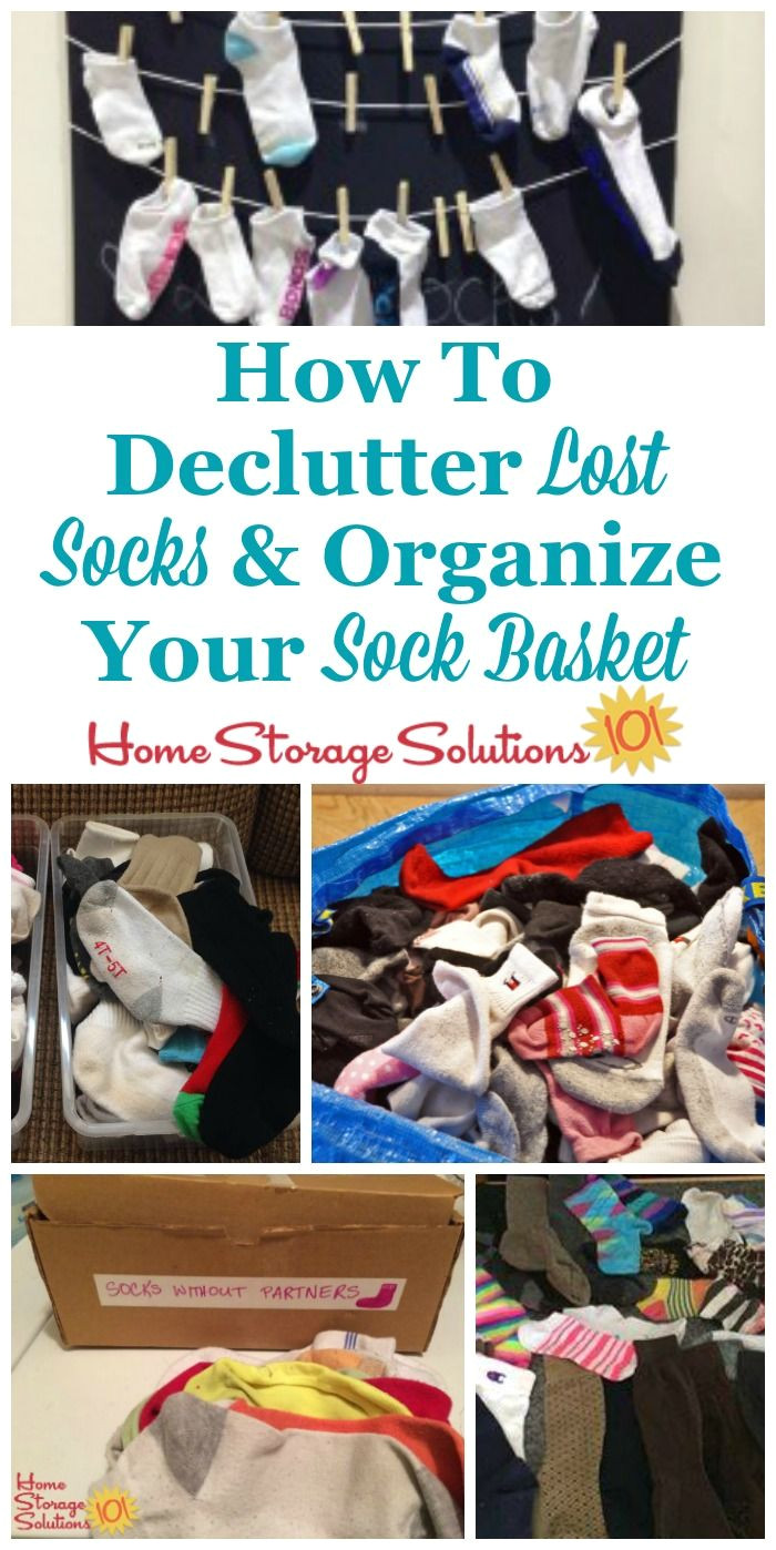 how to declutter lost socks and organize your sock basket and keep it from overflowing