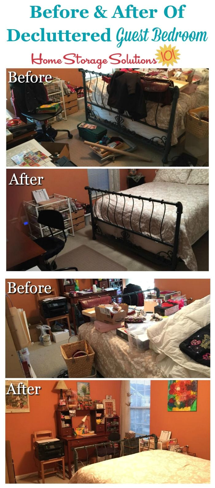 before and after of decluttered guest room that was both used for guests as well