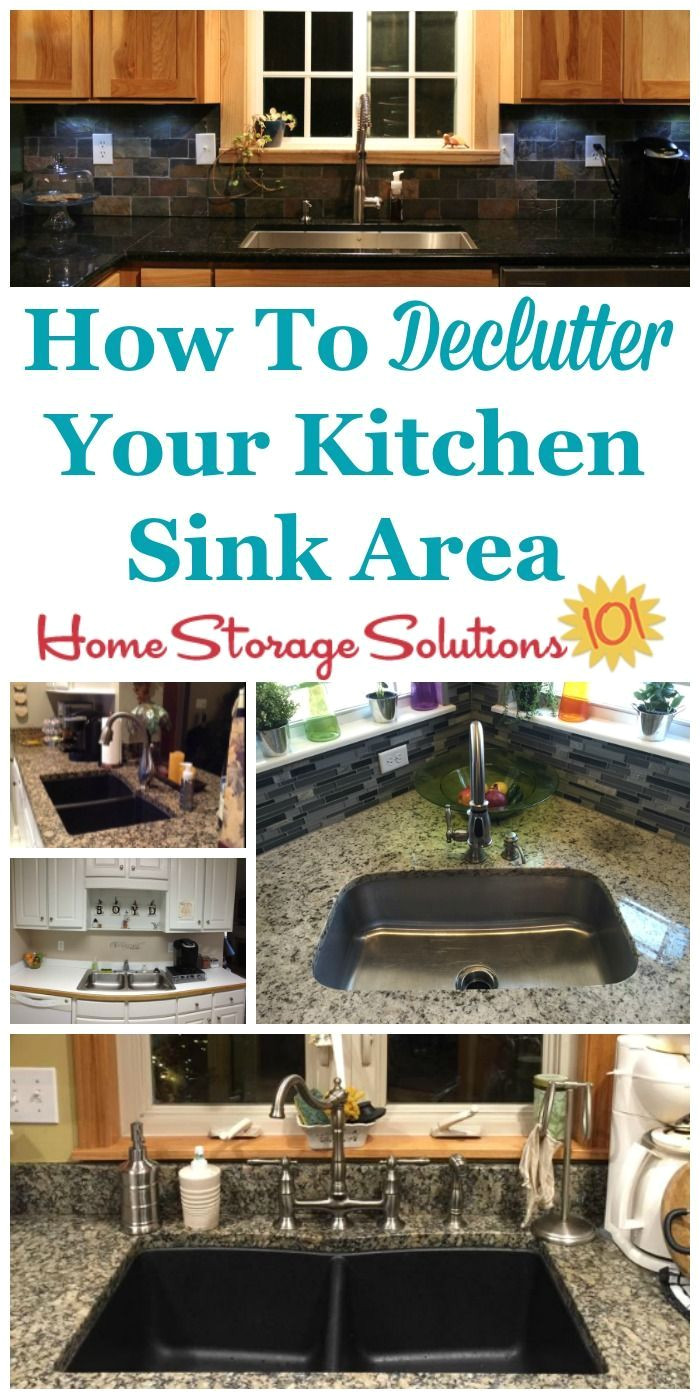 how to declutter your kitchen sink area of unneeded items so you can have a calming space to look at plus a good work space for all sink related tasks in