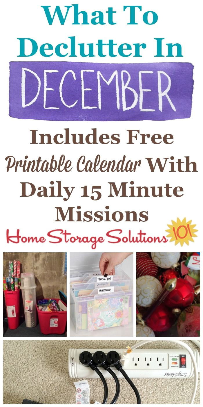 december declutter calendar 15 minute daily missions for month home storage solutionsmessy