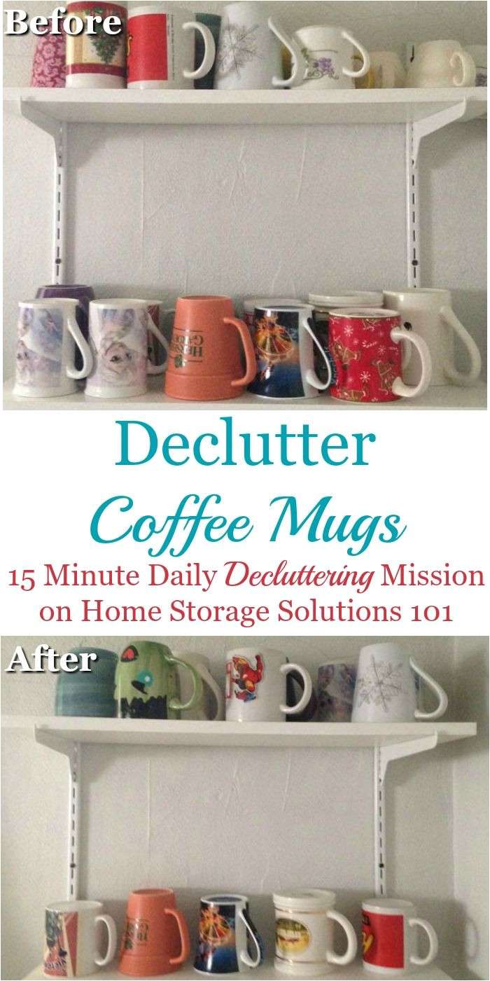 how to declutter coffee mugs including a formula to figure out how many mugs