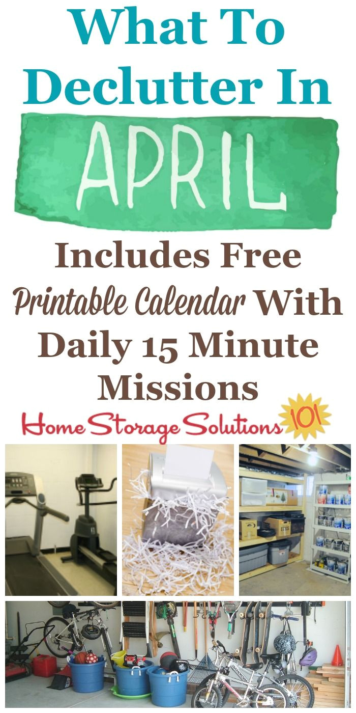 april declutter calendar 15 minute daily missions for month home storage solutionsprintable