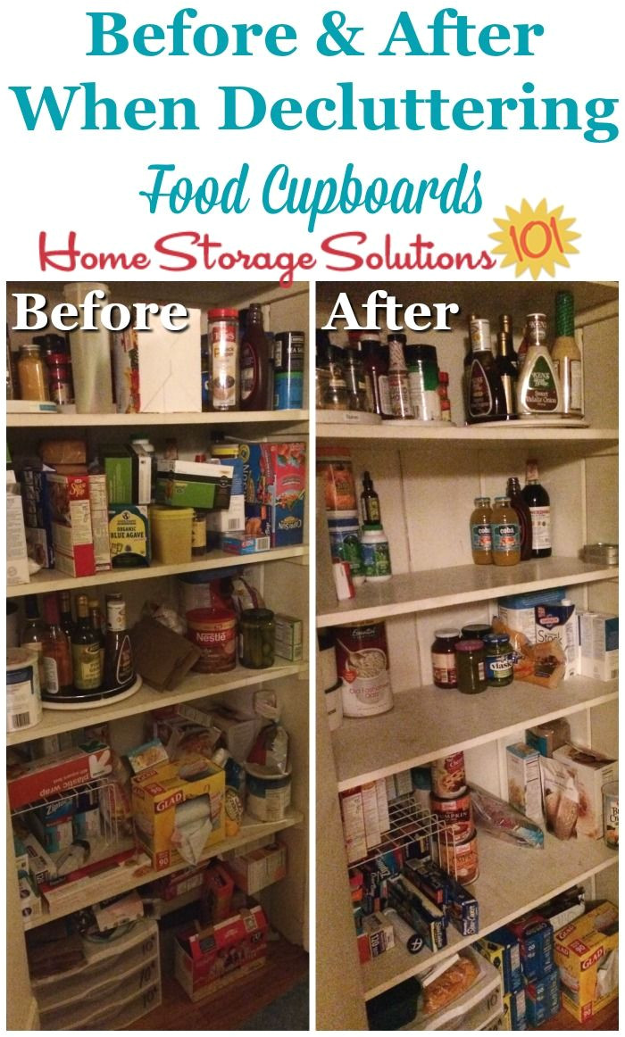 before and after when decluttering food storage areas pantries and food cupboards on