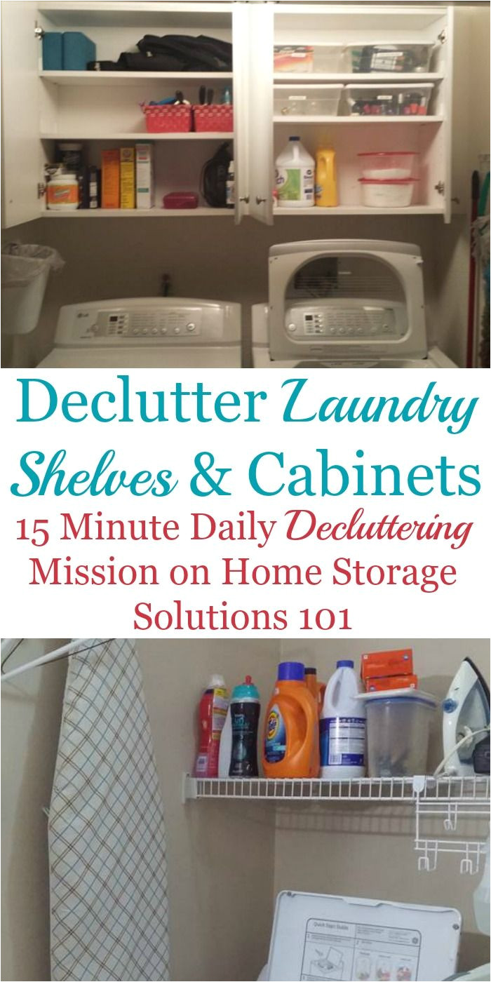 how to declutter laundry room shelves and cabinets part of the declutter365 missions