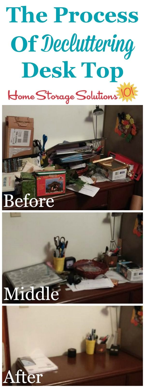 progression from beginning to the end of the decluttering process when clearing of desk top