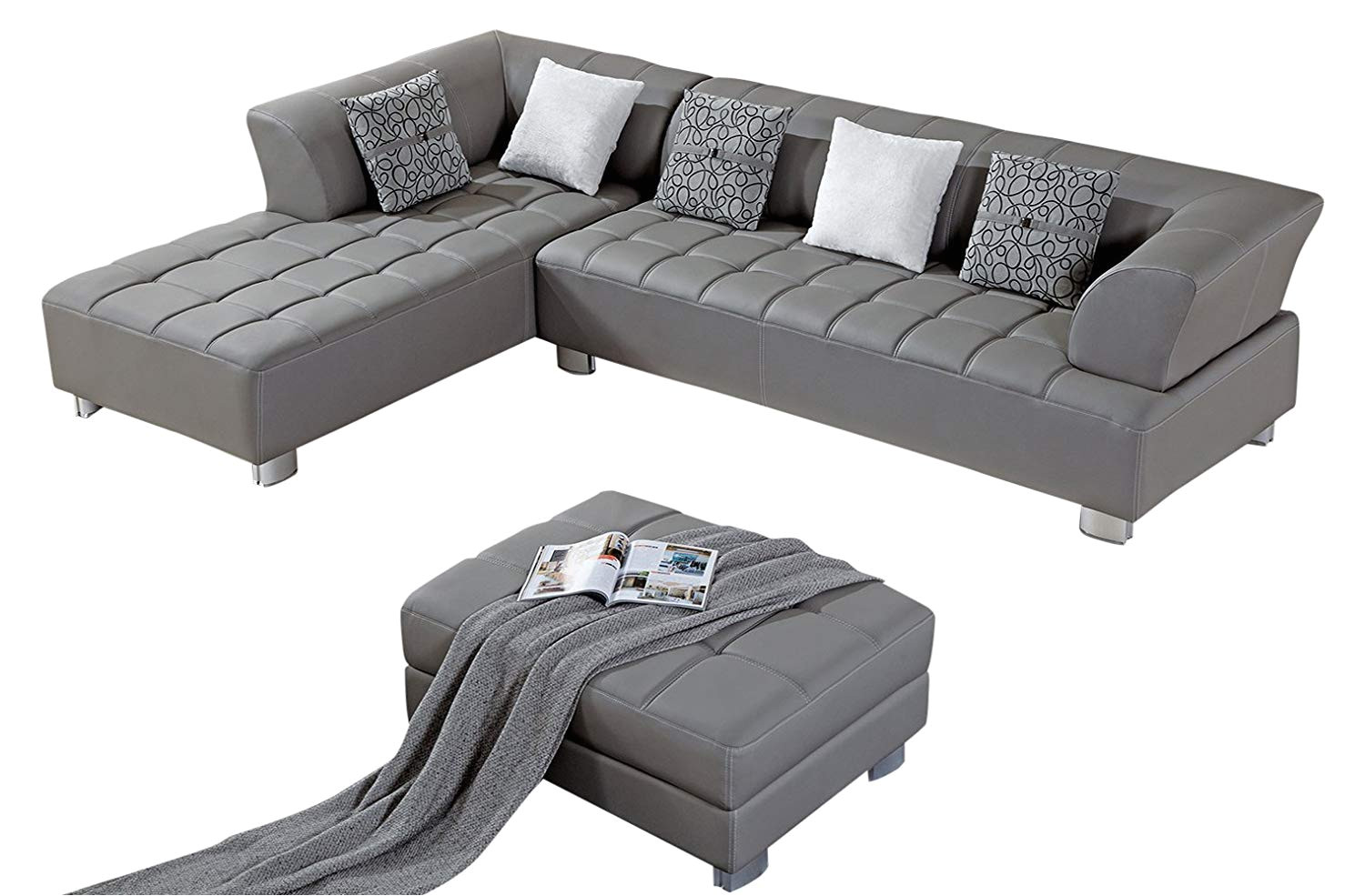 amazon com american eagle furniture aventura collection modern bonded leather tufted sectional sofa with chaise on left and ottoman gray kitchen dining