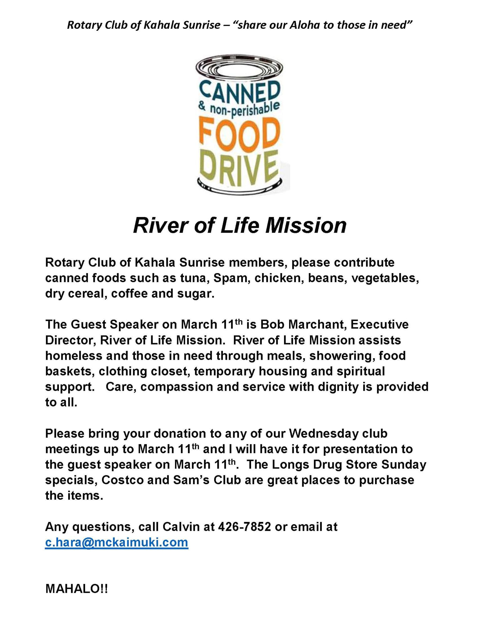 river of life mission food drive