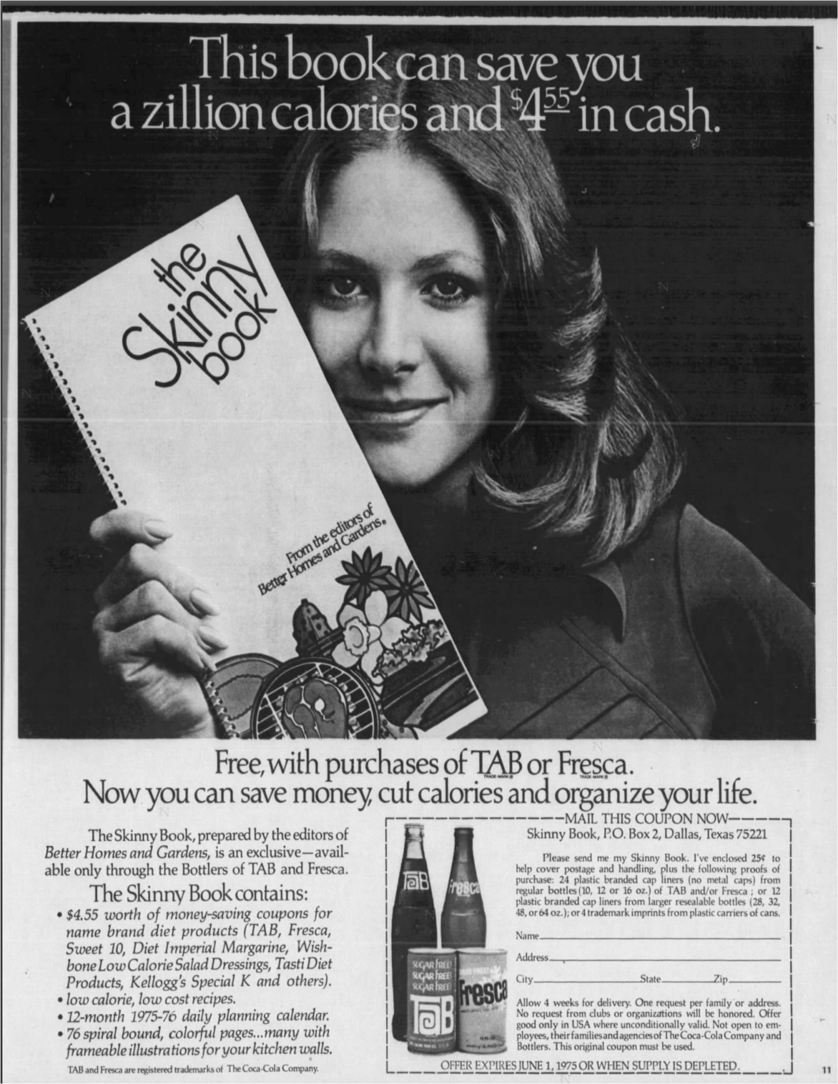 in 1975 the honolulu star published this tab fresca promotion for the skinny book