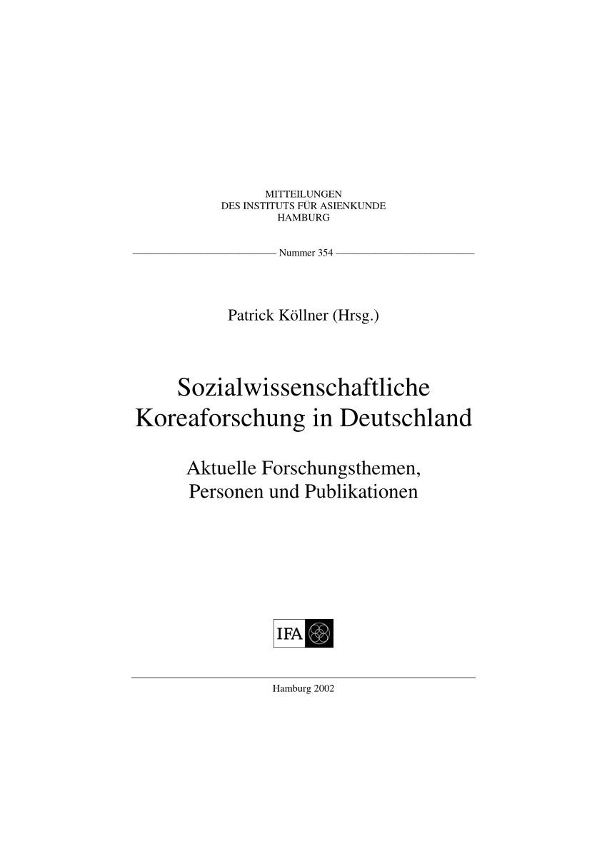 pdf sozialwissenschaftliche koreaforschung in deutschland aktuelle forschungsthemen personen und publikationen